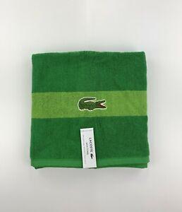 New Lacoste Green Bath Towel 100% Cotton 30 x 52 inch Big Crocodile Logo