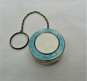 ANTIQUE VTG WEBSTER CO STERLING SILVER GUILLOCHE ENAMEL FINGER COMPACT BOX RING