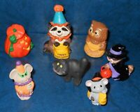 Hallmark Merry Miniatures Halloween Lot Witch Clown Cat Jack O Lantern