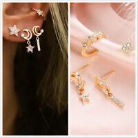 4pcs/set Fashion Women Statement Star Moon Pendant Ear Stud Dangle Drop Earrings