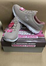 Skechers Women Shoes Taupe/pink Memory Foam Slip On Sport Casual Size 9 Wide NEW