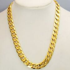 "Men's Necklace 18k Yellow Gold Filled 24"" Charms Link Chain Fashion Jewelry New"