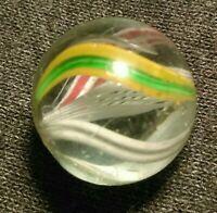 ".71"" LARGE Stunning German Latticinio Transparent Swirl Antique Marbles NM LOOK"