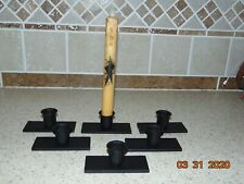 """Lot of 6 Primitive Farmhouse Wrought Iron Candle Holders, Black, 3 5/8"""" X 1 1/2"""""""