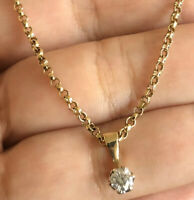 Vintage 9ct Yellow Gold Solitaire Diamond Necklace 0.40ct Pendant & Chain 7.3g