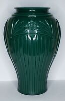 """Ribbed & Embossed Floral Art Deco Glass Green Flash Painted 16"""" Tall Vase"""