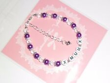 "PERSONALISED "" MUM "" PURPLE  AND CLEAR GLASS BEAD BRACELET 7.5"" + FREE GIFT BAG"