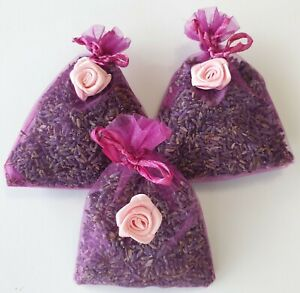 LAVENDER BAGS. PINK WITH FLOWERS. 3 LARGE BAGS  QUALITY LAVENDER FROM TASMANIA