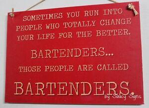 Bartenders Sign  - Bar Pub Beer Wine Cocktail Shaker Mixer Kit Bartender Wooden