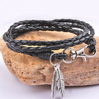 Women Bracelet Bangle Leaves Wrap Braided Rope Weave Punk Men Charm Jewelry Gift