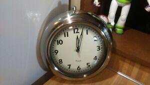 "Kirch Quartz 11"" Wall Clock,watch look,metal/glass,works great,rare,vg!"