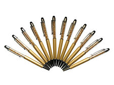 12 pcs/Lot Gold crystal stylus pens diamond ballpoint pens Stationery ballpens