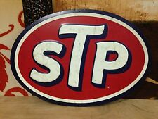 LARGE STP MOTOR OIL HEAVILY EMBOSSED METAL SIGNN SALES SHOP WALL DISPLAY