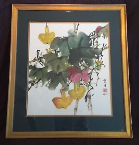 "Japanese/Chinese Print Flower Bamboo Lady Bug Gold Frame signed 28.75"" x 25.25"""