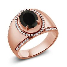 3.29 Ct Oval Black Onyx 18K Rose Gold Plated Silver Men's Ring