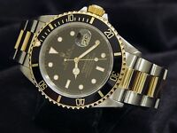 Mens Rolex Submariner 18k Yellow Gold Stainless Steel Watch Black Date Sub 16613