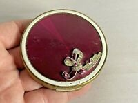 Vintage Round Compact with Red Enamel Gold-Tone Floral Design (for repair)