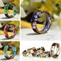 Handgemachten Schmuck Neuheit Frauen Blume Harz Ring Pflanzen in Holzband Ringe