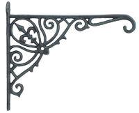 """Cast Iron Plant Hanger Basket Hook Ornate Fleur De Lis Verdigris Color 12"""" Deep"""