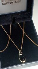 GORGEOUS 9ct 375 Yellow Solid Gold  ONYX Pendant on 16 inch Chain Necklace*****