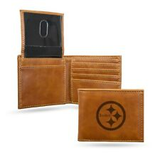 Pittsburgh Steelers Brown Laser Engraved Synthetic Leather Billfold Wallet NWT