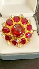 Vintage DELILLO Large Brilliant Red/ White Gold RING Signed Amazing