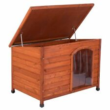 Wooden Dog Kennel Large Free Plastic Door Folding roof protect from cold Garden