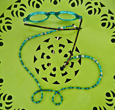 Beaded Glasses Chain Holder Turquoise Color Glass Beads Artist Made See *****