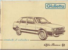 USER'S MANUAL ALFA ROMEO ALFA GIULIETTA ORIGINAL '80