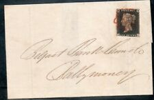 GB Westminster 1840 1d Penny Black on cover used in Ireland  COA sg2 cat £700