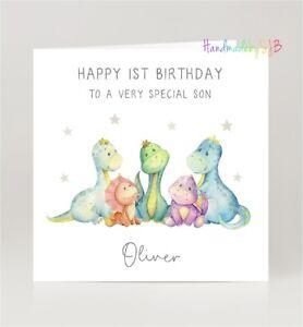 Personalised Dinosaur Birthday Card, Boys/Girls/Son/Daughter/Grandson/Nephew Ist