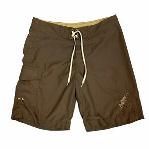 Billabong Board Shorts Men's Size 36 Brown Waist Tie Quick Dry Surfer Beachwear