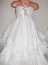 GIRLS WHITE SATIN DIAMONTE PRINT BOHO COTTON RAG HEM RUFFLE PARTY DRESS age 2-3