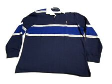 VTG Polo Ralph Lauren Rugby  Polo Shirt Blue White Striped Men's Size Large