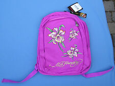 Ed Hardy Backpack NWT Violet Purple Tattoo Design Back Pack Rhinestone Padded