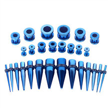 Stainless Steel Tunnels 12G-0G Ear Stretching 28pcs Blue Gauges Kit Tapers Plugs