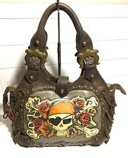 Isabella Fiore Brown Leather RARE Buried Treasure Kelly Hobo Bag Pirate Tattoo