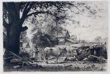 Eau-forte originale, Cour de ferme en Caroline du Nord, Rodolphe Piguet, XIXème
