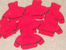 """Lot of 7 New Knitted Sweaters for Teddy Bears/Dolls; Red- 3.5"""" x 3"""" NWT"""