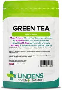 GREEN TEA Capsules 60 x 9000mg SUPER Strength  FAT burner, WEIGHT Loss Lindens