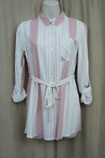 Hippie Rose Shirt Top Sz S Canyon Clay Red Combo Striped Button Down Tunic Top