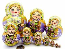 Genuine Russian nesting dolls GOLD LILAC Pyrography BIG MATRIOSHKA 10 MAMAYEVA