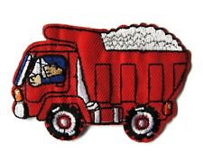 Red Dump Truck with Driver Embroidered Iron On Patch Applique
