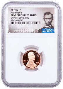 2019 W Proof Lincoln Cent Mint Error Obv Struck Thru NGC PF69 CPCR FR SKU63532