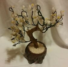 Vintage Bonsai Tree White Glass Jade Flower Bouquet Blossom With Vase
