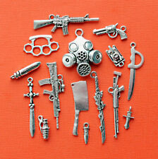 Weapons Charm Collection Antique Silver Tone 15 Charms - COL345