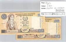 2 BILLETS CHYPRE - 1 LIVRE - 1.2.2001 et 1.4.2004