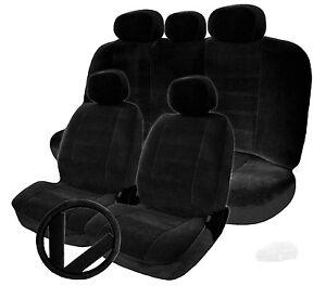 FOR KIA NEW SEMI CUSTOM BLACK VELOUR CAR SEAT STEERING WHEEL COVERS FULL SET