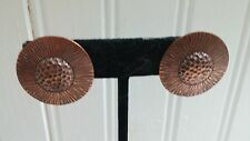 Vintage Solid Copper Textured Disk Clip-On Earrings