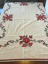 STUNNING Vintage Heavy Linen Cross Stitch Tablecloth Needlepoint Hand Crafted!!!